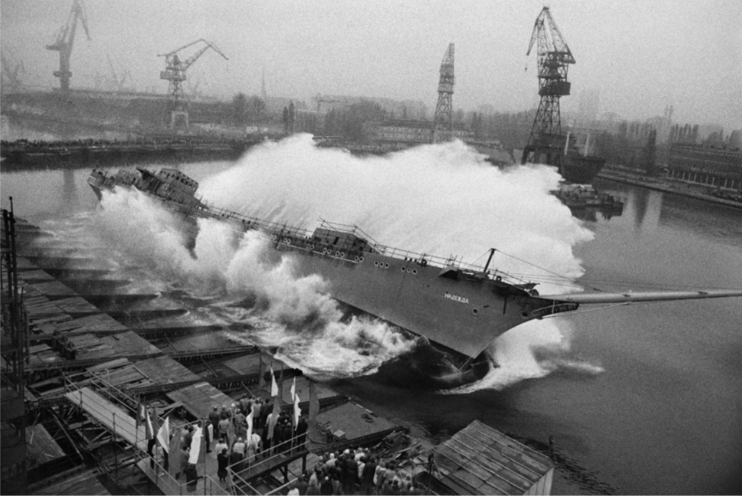 A ship is launched. Shipyards of Gdansk